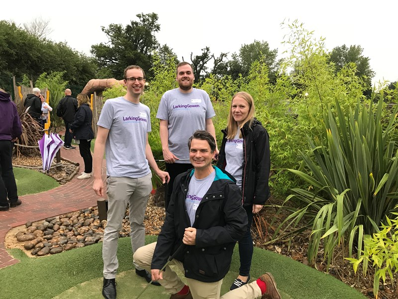 Larking Gowen holds Crazy Golf Challenge in aid of Elmer's Big Parade Suffolk and St Elizabeth Hospice.